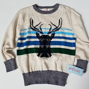 Cat and Jack cotton sweater deer xs 4/5